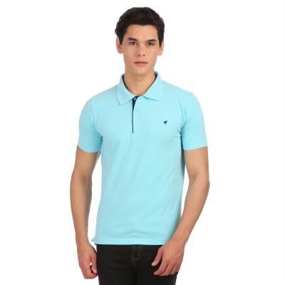 Neva Self Design Men's Polo Neck Light Blue T-Shirt