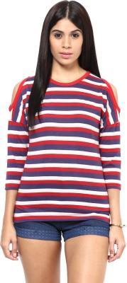 Hypernation Striped Women's Round Neck Multicolor T-Shirt