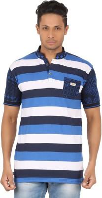 R-CROSS Striped Men,s Mandarin Collar Blue, White T-Shirt