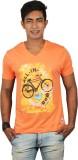 Dude Tamizha Printed Men's V-neck Orange...