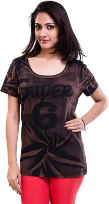 TVENO Self Design Women's Round Neck Brown T-Shirt