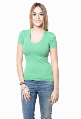 Westhreads Solid Women's V-neck Green T-Shirt