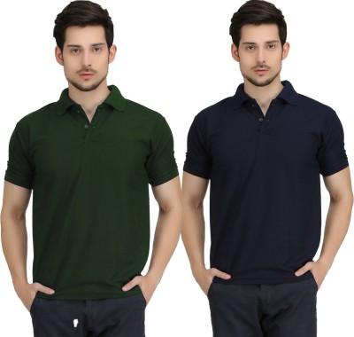 Krazy Katz Solid Men's Polo Neck Dark Green, Dark Blue T-Shirt