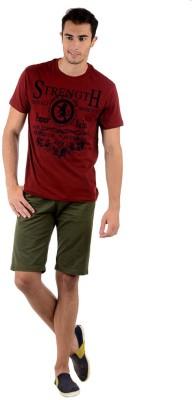 Keywest Graphic Print Men's Round Neck Maroon T-Shirt
