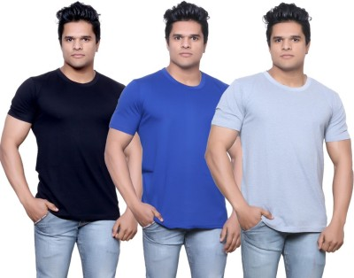 IndiStar Solid Men's Fashion Neck Black, Blue, Grey T-Shirt
