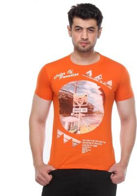 Rose Taylor Printed Men,s Round Neck Orange T-Shirt