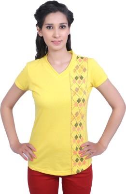Duke Stardust Casual Short Sleeve Printed Women's Yellow Top