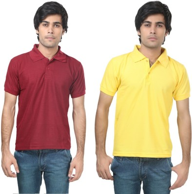 Stylish Trotters Solid Men's Polo Maroon, Yellow T-Shirt