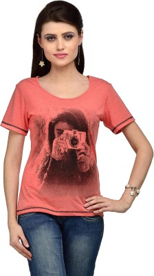 Iracc Printed Women's Round Neck Pink T-Shirt