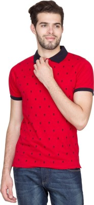 Fort Collins Printed Men's Polo Neck Red, Black T-Shirt