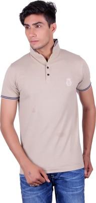All Ruggby Embroidered Men's Mandarin Collar Beige T-Shirt