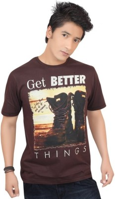 Zootx Printed Men's Round Neck Brown T-Shirt