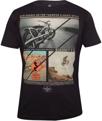 Hefty Graphic Print Men's Round Neck Brown T-Shirt