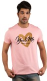 Snoby Printed Men's Round Neck Pink T-Sh...