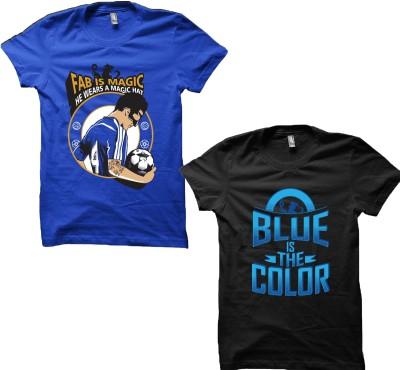 EETEE Printed Men's Round Neck Black, Blue T-Shirt