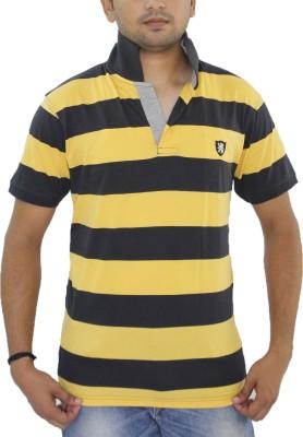 Grey Tree Striped Men,s Polo Neck Black T-Shirt