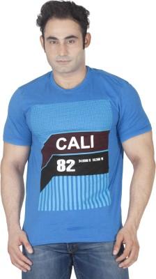 ISHWA Graphic Print Men's Round Neck Blue T-Shirt