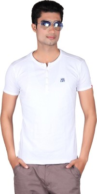 Cute Collection Solid Men's Round Neck White T-Shirt