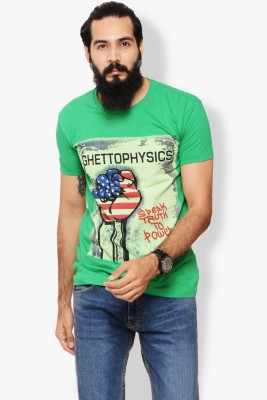 Warriors Checkered Men's Round Neck Green T-Shirt