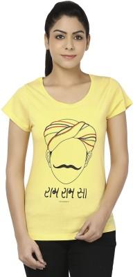 Hattha Embroidered Women's Round Neck Yellow T-Shirt