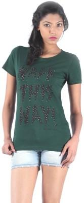 S9 Women Printed Women's Round Neck Dark Green T-Shirt