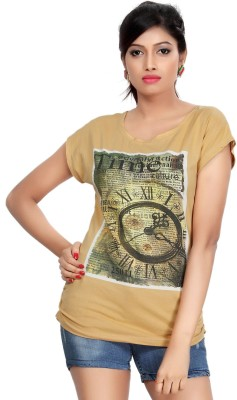 Comix Graphic Print Women's Round Neck Beige T-Shirt