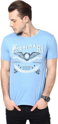 Cherymoya Printed Men's Round Neck Light Blue T-Shirt