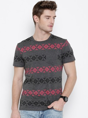 Sera Printed Men,s Round Neck Grey T-Shirt