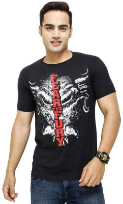 deccan store Printed Men,s Round Neck Black T-Shirt