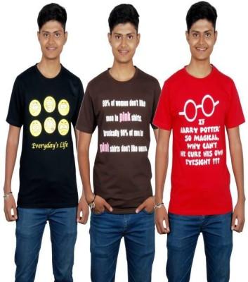 Molecules Printed Men's Round Neck Black, Brown, Red T-Shirt
