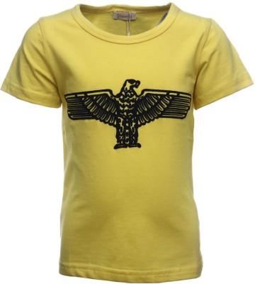Sheena Printed Girl's Round Neck Yellow T-Shirt