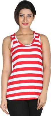 Modimania Striped Women's Round Neck White, Red T-Shirt