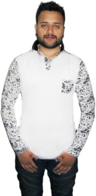 Modish Vogue Floral Print Men's V-neck White T-Shirt