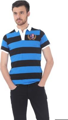 Basics Striped Men's Polo Neck Blue T-Shirt