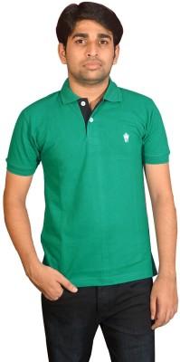 Friends United Solid Men's Polo Neck Dark Green T-Shirt