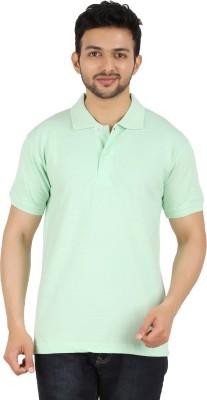 Garudaa Garments Solid Men's Polo Neck Light Green T-Shirt