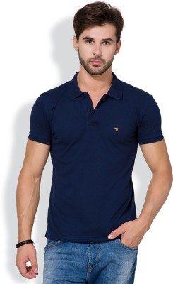 The Indian Garage Co. Solid Men's Polo Neck Dark Blue T-Shirt