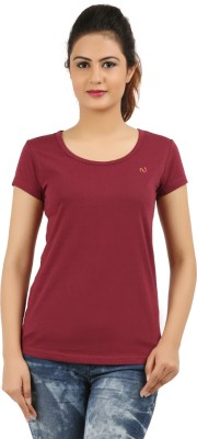 New Darling Solid Women's Round Neck Maroon T-Shirt