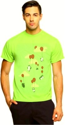 ARG CREATIONS Printed Men's Round Neck Light Green T-Shirt