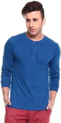 Ansh Fashion Wear Solid Men's Henley Blue T-Shirt