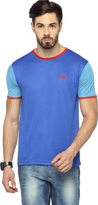 Canyons Solid Men's Round Neck Blue T-Shirt