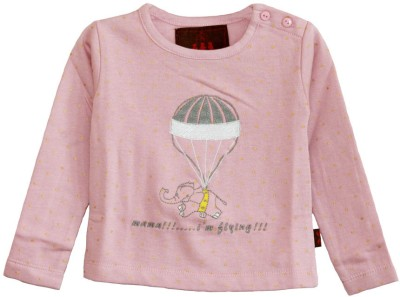 My Little Lambs Polka Print Baby Girl's Round Neck Pink T-Shirt