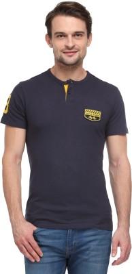 Flippd Solid Men's Henley Dark Blue T-Shirt