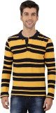 Nick & Jess Striped Men's Polo Neck Yell...