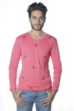 Poonam Solid Men's V-neck Pink T-Shirt