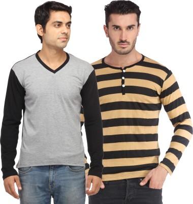 Leana Solid Men,s Fashion Neck Multicolor T-Shirt