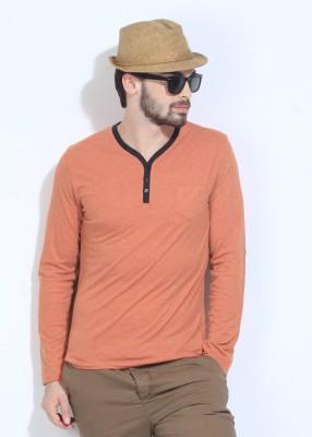 Breakbounce Solid Men's Henley Orange T-Shirt
