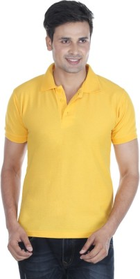 Pikcart Solid Men's Polo Neck Yellow T-Shirt