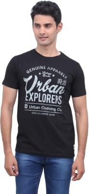 urbantouch Printed Men's Round Neck Black T-Shirt