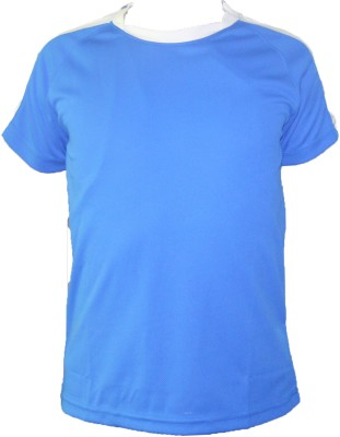 T10 Sports Solid Boy's Round Neck Blue T-Shirt